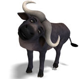 Very cute and funny cartoon buffalo. 3D rendering with clipping path and shadow over white Royalty Free Stock Photo