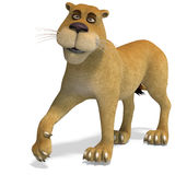 Very cute and funny female cartoon lion. 3D rendering with clipping path and shadow over white Royalty Free Stock Image