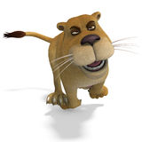 Very cute and funny female cartoon lion Stock Photo