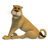 Very cute and funny female cartoon lion. 3D rendering with clipping path and shadow over white Stock Photo