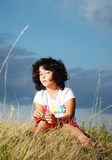 Very cute girl in beautiful clothes Royalty Free Stock Photo