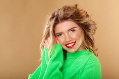 Very cute girl with long fluffy hair. Royalty Free Stock Photography