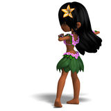 Very cute hawaiin cartoon girl is dancing for Royalty Free Stock Images