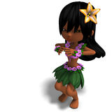 Very cute hawaiin cartoon girl is dancing for Stock Images