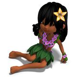 Very cute hawaiin cartoon girl is dancing for Royalty Free Stock Photo