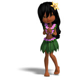 Very cute hawaiin cartoon girl is dancing for Stock Photography