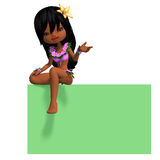 Very cute hawaiin cartoon girl invites you. 3D Stock Photography