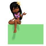 Very Cute Hawaiin Cartoon Girl Invites You. 3D Stock Photography