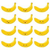 Very cute Kawaii banana fruit. Set of emotions. Vector design royalty free illustration