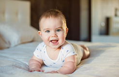 Very cute little baby boy lying on the bed on a light veil of sm Stock Image