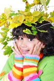 Very cute little girl in autumn clothes isolated Stock Images
