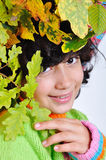 Very cute little girl in autumn clothes isolated Stock Image