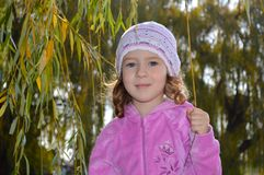 Very cute little girl in a pink blouse royalty free stock image