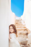 Very cute little princess outdoors in city street Royalty Free Stock Photo