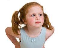 A very cute little red head. Adorable young girl with a sassy look Stock Photos
