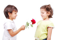 Very cute scene of two little children Stock Images