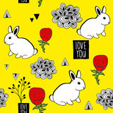Very cute seamless pattern with white rabbits and romantic message. Stock Photo