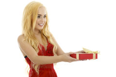 Very cute and sexy blonde woman in red lingerie showing a gift b Royalty Free Stock Photography