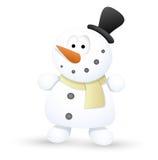 Very Cute Snowman - Christmas Vector Illustration. Drawing Art of Cute Cartoon Funny Kid Christmas Snowman Character Vector Illustration Stock Photo