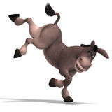 Very cute toon donkey. Sweet cartoon donkey with pretty face over white and clipping Path stock illustration