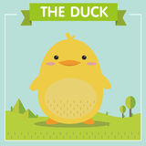 Very Cute Yellow Duck Character Stock Photography
