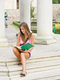 Very cute young student girl outdoors. Royalty Free Stock Photo