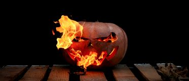 A very dangerous dangerous Halloween pumpkin, with a stern gaze Royalty Free Stock Photography