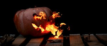 A very dangerous dangerous Halloween pumpkin, with a stern gaze Royalty Free Stock Image