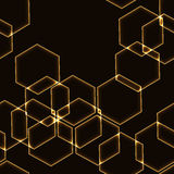 Very dark seamless background with gold hexagons outlines Royalty Free Stock Photography