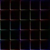 Very dark seamless background with simple tiles with lightly shining color borders and corners Royalty Free Stock Image