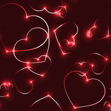 Very dark seamless pattern with neon red laser hearts. Very dark seamless pattern with hot neon red laser shining hearts on black background - romantic valentine Royalty Free Stock Images