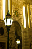 Very decorative and stylish 19th century lanterns on streets of Vienna by night Stock Images