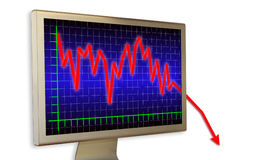 Very deep crisis. Financial diagram on a real computer monitor (with shadows on white Royalty Free Stock Images
