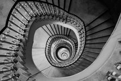 Very deep spiral staircase Stock Photo