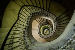 Very deep spiral staircase Royalty Free Stock Images