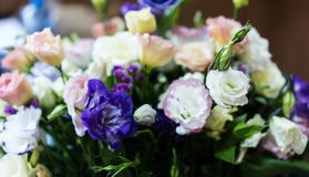 Very delicate bouquet of colorful eustomas. Pink, purple, white eustoma flower, illuminated by sunlight stock photo