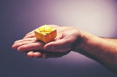 Delicate gift from reliable men`s hands. Very delicate gift from reliable men`s hands Royalty Free Stock Images