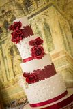 Beautiful red and white wedding cake royalty free stock photos