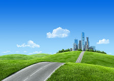 Very detailed 7000px city on horizon royalty free stock photography