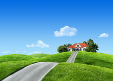 Very detailed 7000px house on green meadow stock images