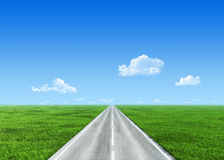 Very detailed 7000px road over field stock photography