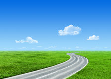 Very detailed 7000px road over grass field stock images