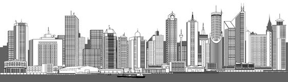 Very detailed city skyline Royalty Free Stock Photos