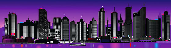 Very detailed city skyline at night. Vector illustration of a very detailed city skyline at night (each element can be edited Royalty Free Stock Photography