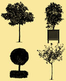 Very detailed trees silhouettes Royalty Free Stock Photo