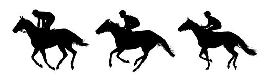 Very detailed vector of three jockeys and horses. Very detailed vector of  jockeys and their horses; three horses in movement; white and black vector Stock Image