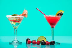 Very different cocktails, fruit and meat with vegetables Stock Images