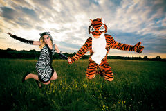 Very Different But Wild An Happy Couple. A very different but wild and happy couple stock photo