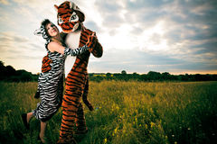 Very Different But Wild An Happy Couple. A very different but wild and happy couple stock images