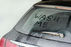 A very dirty car in winter Royalty Free Stock Image